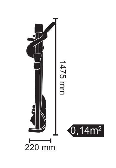 Az Everfit TFK 155 SLIM futópad magassága zárt helyzetben csak 22 cm, hossza 147 cm.
